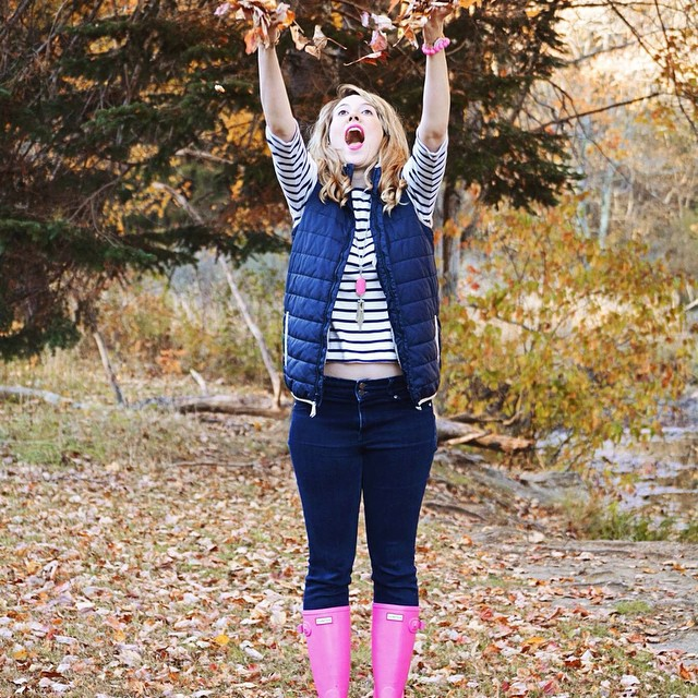 We get really excited about hot pink, stripes, and puffer vests for fall! Outfit details and tips on layering and brightening up your fall wardrobe are waiting for you on the blog now.