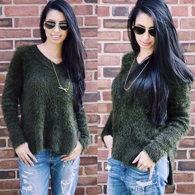 My long overdue fashion and beauty tips for the busy woman are finally up on the blog now! Check it out for this amazing fuzzy green sweater and to learn how to achieve that bright eyed bushy tail look! ?